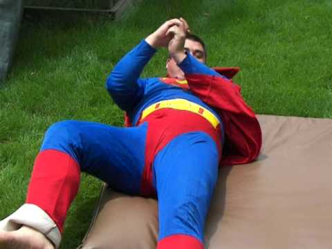 David Ho as Superman- Superman rolling on a gym mat (Rolling Superman Video 2)