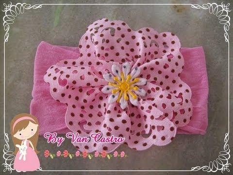 Passo a passo faixa meia de seda/ passo a passo flor tecido
