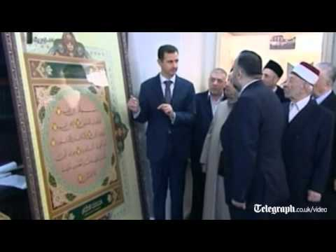 President Bashar al-Assad visits Damascus mosque as fighting continues in Syria
