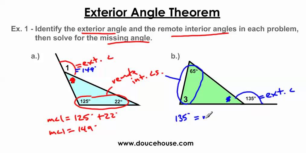 Exterior Angle Theorem Youtube