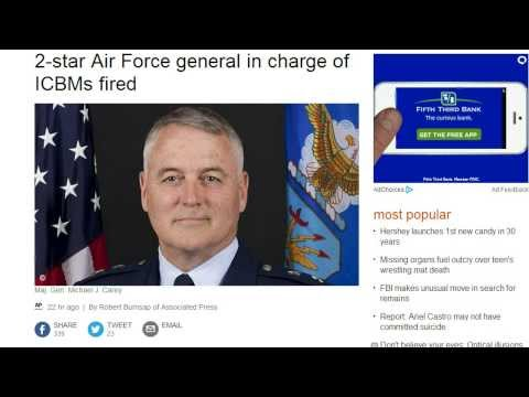 Alert! 2 Top Nuke Generals Fired!  That's 7 Generals Total Recently Fired by Obama!