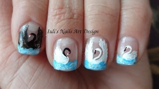 ... Design Blue French Manicure 4 ways how to draw a swan on finger nails