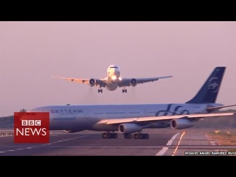 Planes seconds from disaster at Barcelona airport
