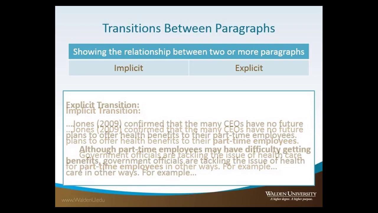 Transitions between paragraphs in an essay