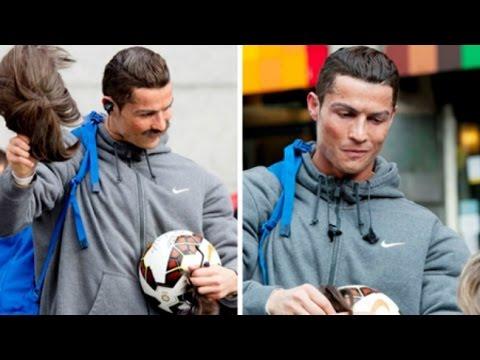 Ronaldo hóa trang, chơi bóng và xin ăn trên đường phố Madrid FULL HD
