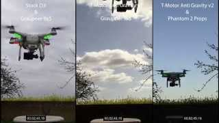 DJI Phantom 1.5 T-Motor Anti Gravity Vs Stock + Graupner
