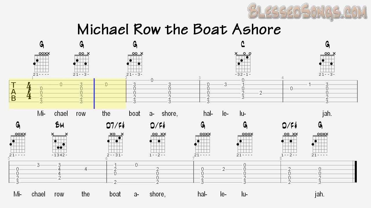 Sunday School Songs - Michael Row the Boat Ashore - Guitar Tabs - YouTube