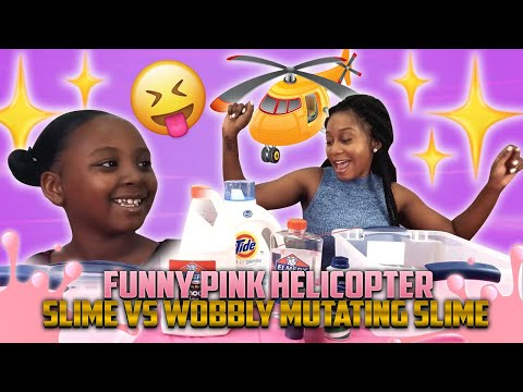 TAY & MOM MAKES FUNNY PINK HELICOPTER FLUFFY SLIME VS  WOOBLY MUTATING PURPLE FLUFFY SLIME