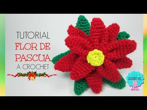 Flor de pascua a crochet fácil