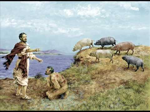 Image result for picture of jesus cast demons into pigs
