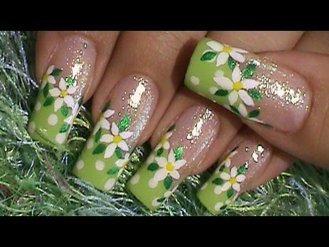 Green w/ White Dots & Flower Nail Art Design Tutorial