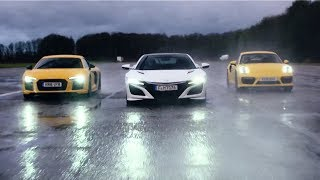 Honda NSX vs Audi R8 V10 vs Porsche 911 Turbo - Chris Harris Drives - Top Gear. Watch online.