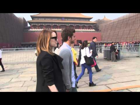 Andrew Garfield & Emma Stone Visit Forbidden City in China on Bikes