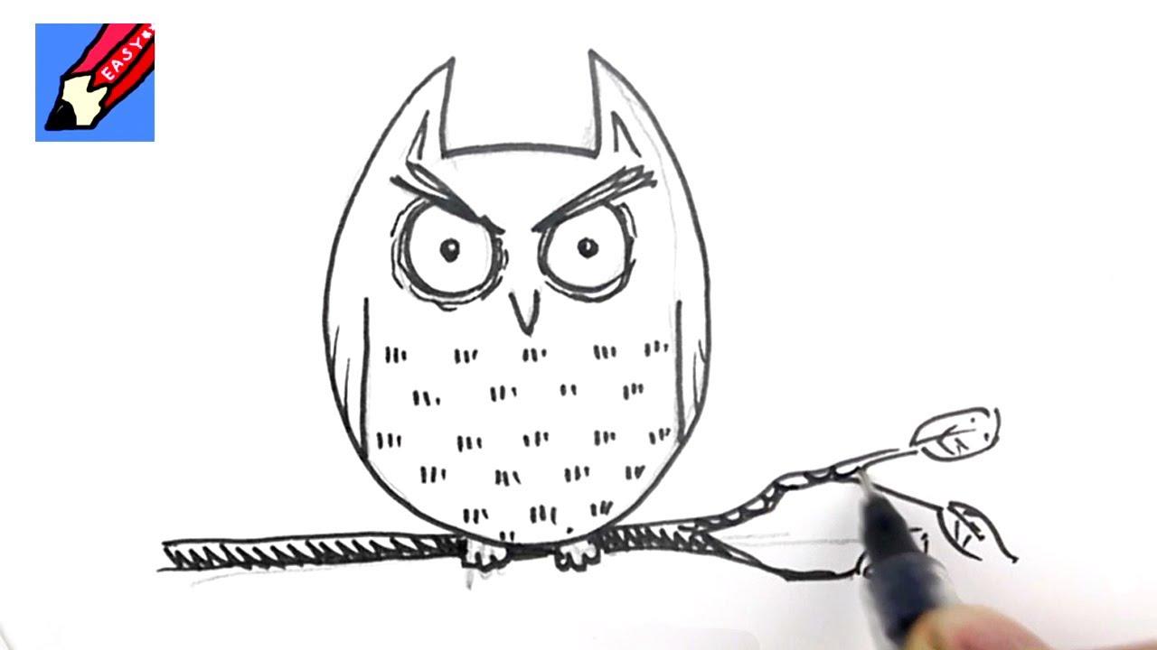 How to draw owl cartoon for Cartoon owl sketch