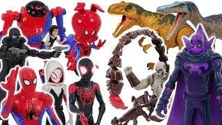Spider-Man Into The Spider-Verse Miles Morales, Gwen VS Prowler, Scorpion, dinosaur! #DuDuPopTOY