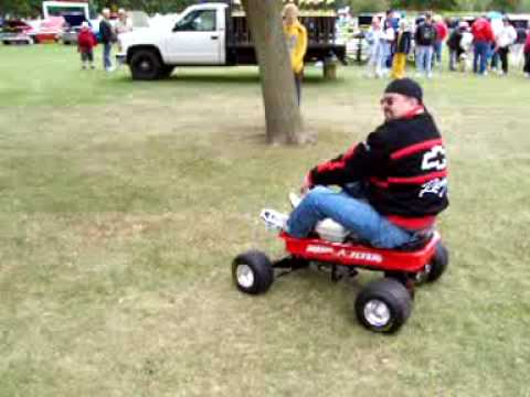 Gas power radio flyer wagon youtube for Motorized wagon for sale