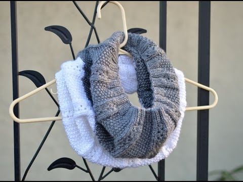 Knitting Patterns For Scarves With Circular Needles : DIY!!! How to Knit a Scarf with Circular Needle (Two Colors Infinity Cowl) - ...