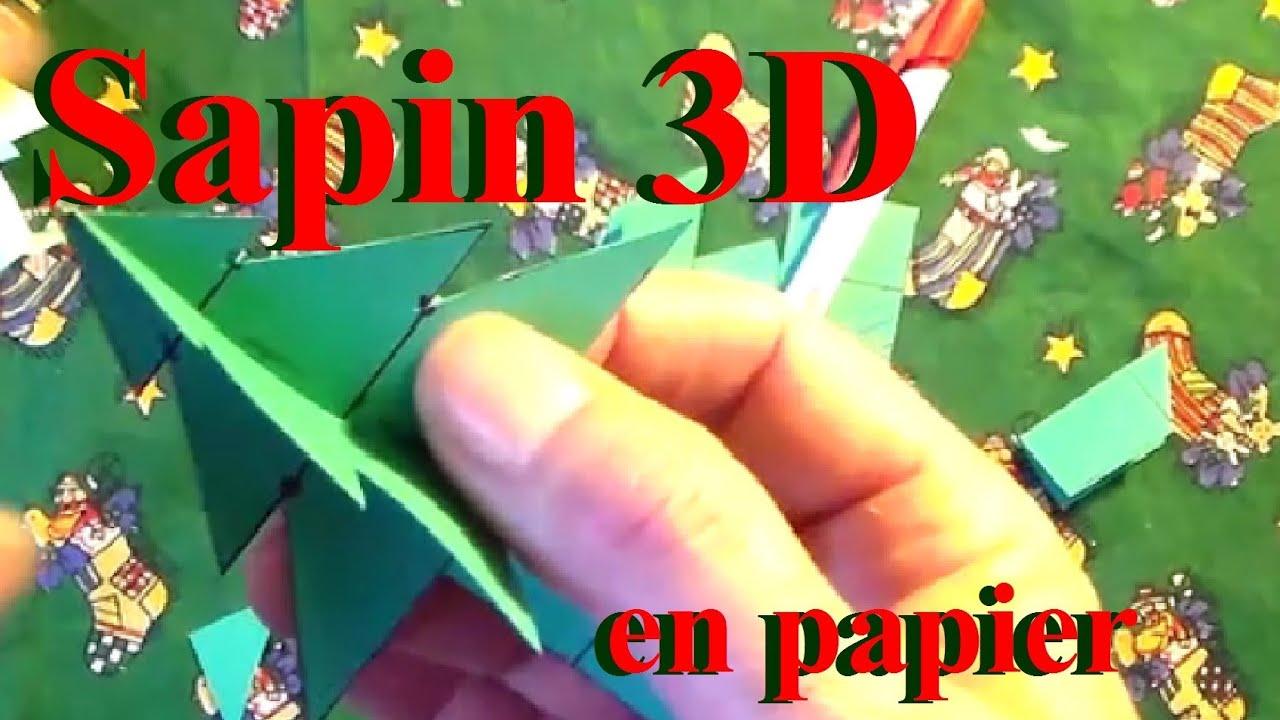 Fabriquer un sapin 3d en papier bricolage de no l avec - Fabriquer un sapin avec des branches ...