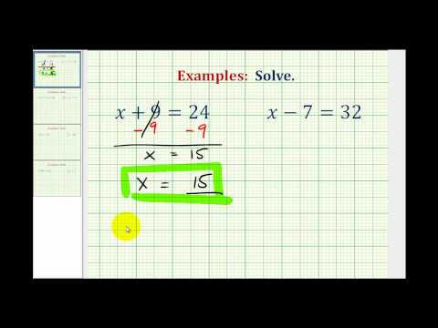 Solve One Step Equations by Adding and Subtracting Whole Numbers