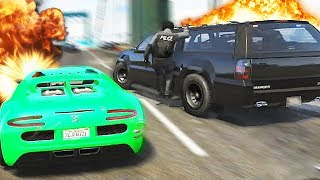 GTA 5 Funny Moments - Crazy Police Chase! (GTA V Online Gameplay)
