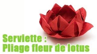 Pliage de serviette en papier fleur de lotus labelleadresse videos de fleurlotus clips de - Comment plier les serviettes de table ...