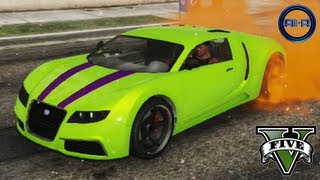 "GTA 5 - ""BUGATTI VEYRON"" - STUNTS, CUSTOMIZATION & CARS GAMEPLAY! (Grand Theft Auto V ADDER Car)"