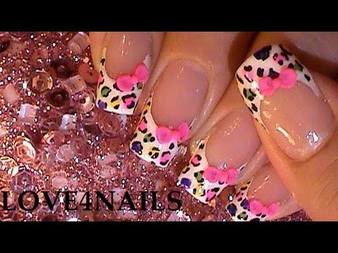 How to Make an Easy 3-D Bow on a Rainbow Animal Print Nail Design