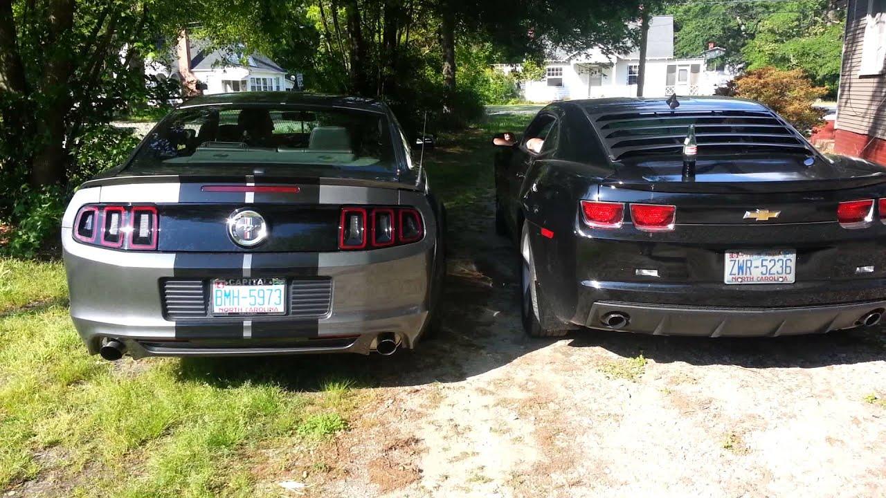 Exhaust test: 2014 Mustang v6 Vs. 2012 Camaro v6 - YouTube