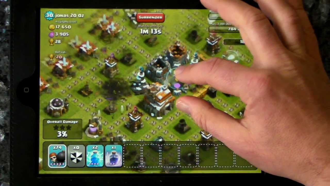 clash of clans coc 245 wall breaker attack by bonbee