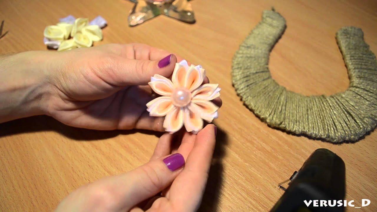 Как сделать цветок из джутового шнура
