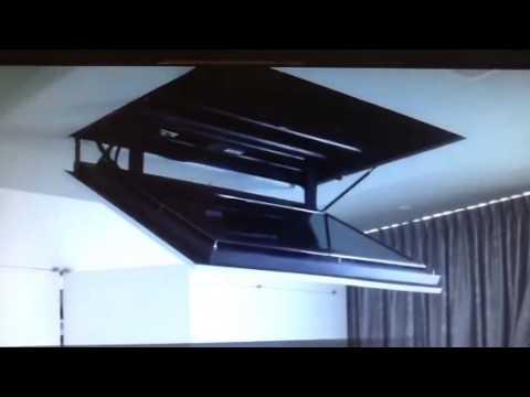 Motorized Flip Down Flat Screen Tv Ceiling Mount Youtube