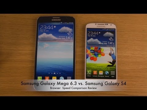 Samsung Galaxy Mega 6.3 vs. Samsung Galaxy S4 - Browser Speed Comparison Review, Today I will compare Mega 6.3 vs. Galaxy S4 browsing experience. Pricing and Availability: http://goo.gl/1KzVd ►►► Check out main channel for more awesome vi...