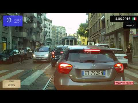 Driving through Milano (Italy) from Navigli to Niguarda 4.06.2015 Timelapse x4
