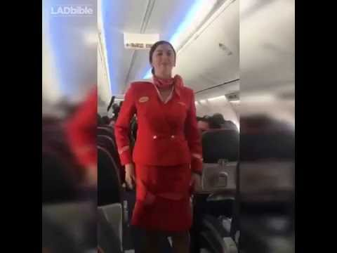 Football Fans distracting the air hostess during safety announcement [Funny]