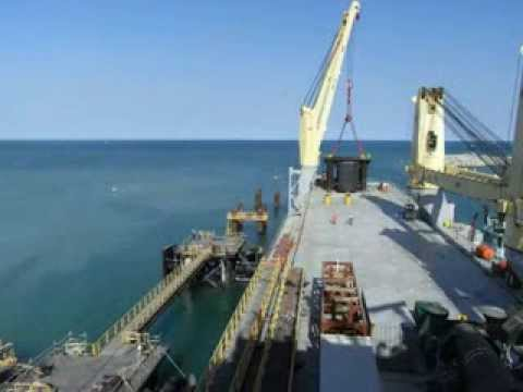 Installation of berthing and mooring dolphin headstock at Barrow Island