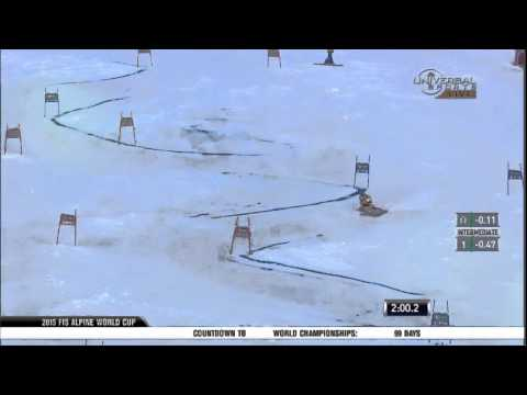 3 skiers wipeout in Solden GS - Universal Sports