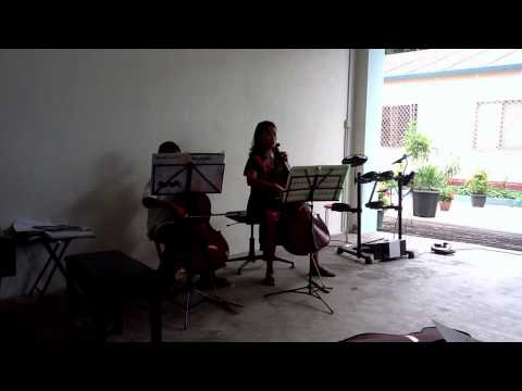 Bach, Minuet No. 2, cello duet, Hadomi and Joy, in Dili, Timor Leste.
