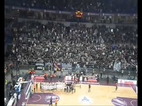 Partizan fans Grobari celebrate with the team.