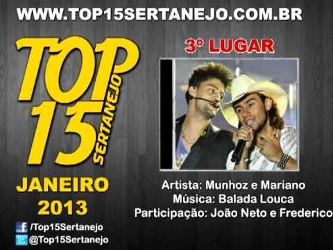 AS 15 MÚSICAS SERTANEJAS MAIS TOCADAS EM JANEIRO DE 2013 - TOP 15 SERTANEJO 2013