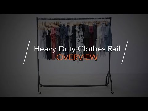 Black 4 ft Wide Heavy-Duty Clothes Rail with Blue Rail Cover