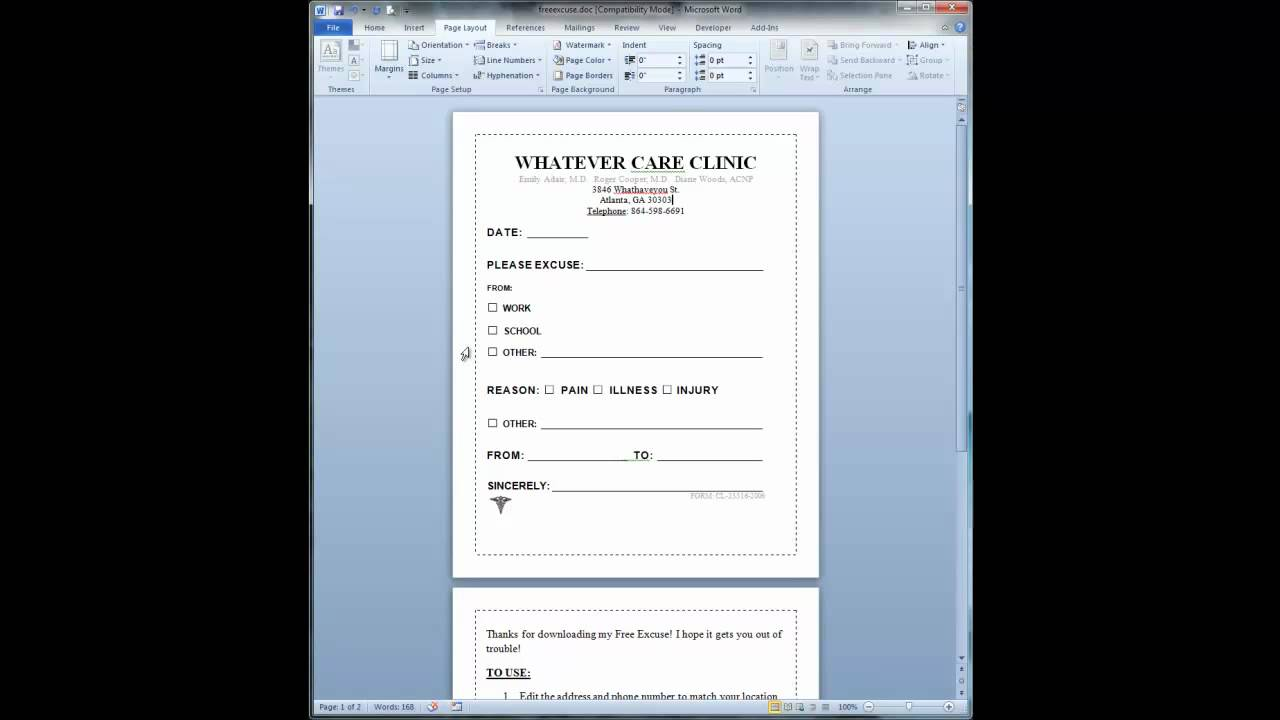 How To Use Our Free Doctor's Note - YouTube