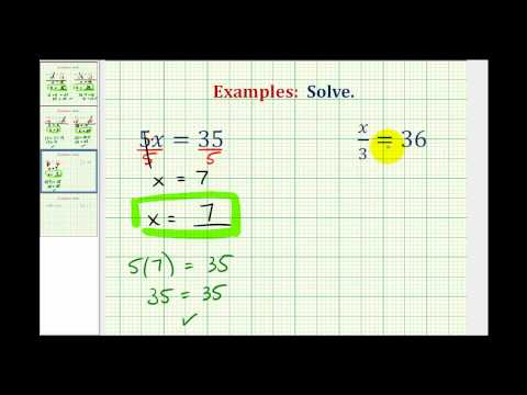 Solving One Step Equation by Multiplication and Division