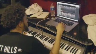 J. Cole Making Beat On His Tour Bus