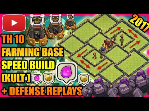Clash Of Clans - Town Hall 10 (TH10) Farming Base / Hybrid Base with Bomb Tower + Defense Replays !!