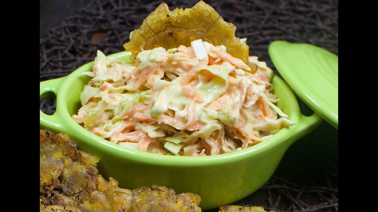Ensalada de col o coleslaw youtube for Como preparar repollo