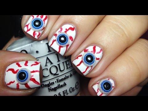 3D Eyeball Halloween Nails