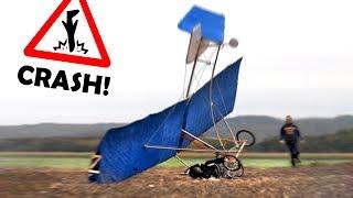 BRUCHLANDUNG mit unserem Fahrrad-Flugzeug!   Unser Fahrrad lernt FLIEGEN! #3