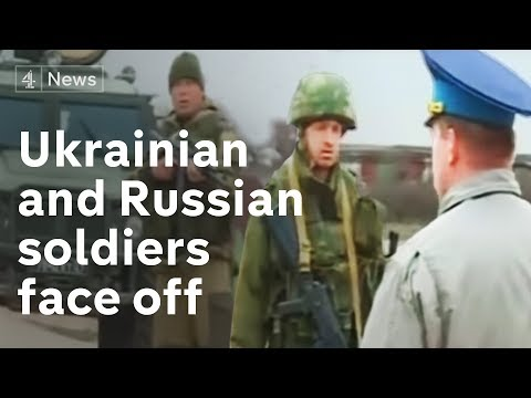 Ukrainian and Russian soldiers face off at Belbek