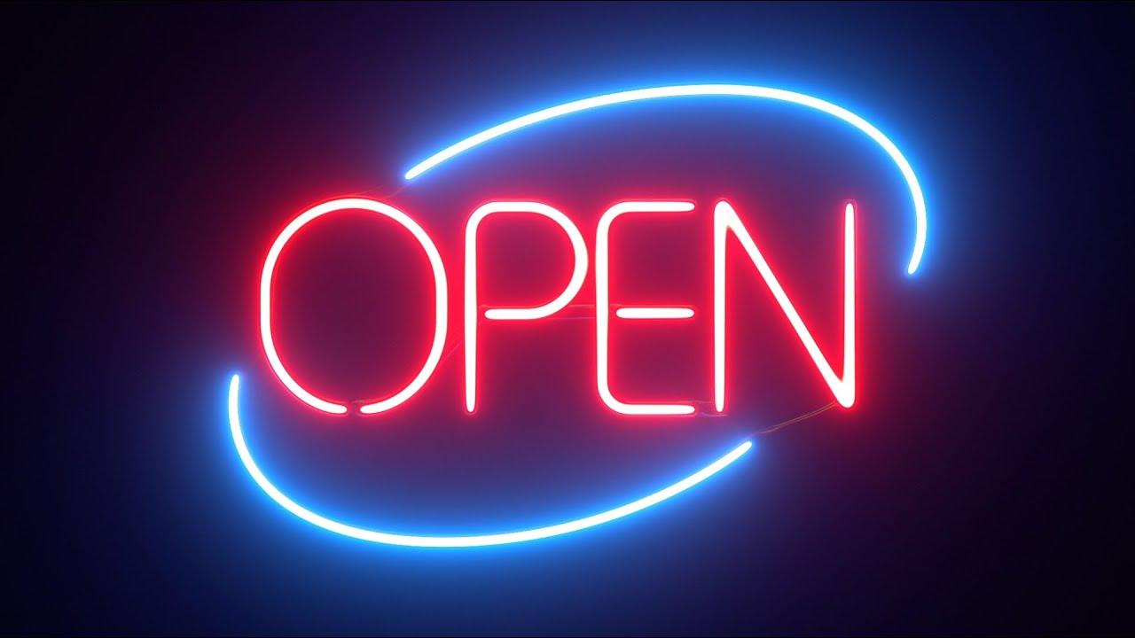 round neon open sign