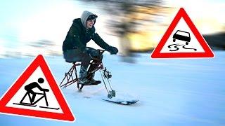 Snowboards statt Räder?   Snowboardbike CRASH bei 40km/h